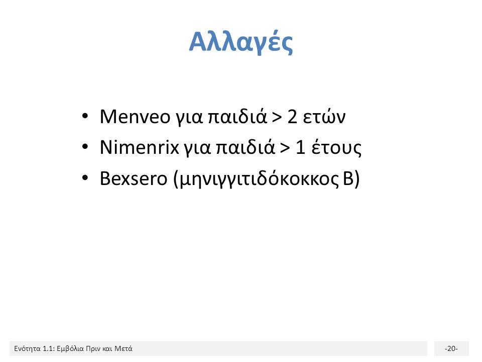 Ενότητα 1.1: Εμβόλια Πριν και Μετά-20- Αλλαγές Menveo για παιδιά > 2 ετών Nimenrix για παιδιά > 1 έτους Bexsero (μηνιγγιτιδόκοκκος Β)
