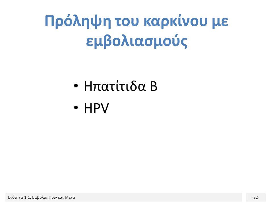 Ενότητα 1.1: Εμβόλια Πριν και Μετά-22- Πρόληψη του καρκίνου με εμβολιασμούς Ηπατίτιδα Β HPV