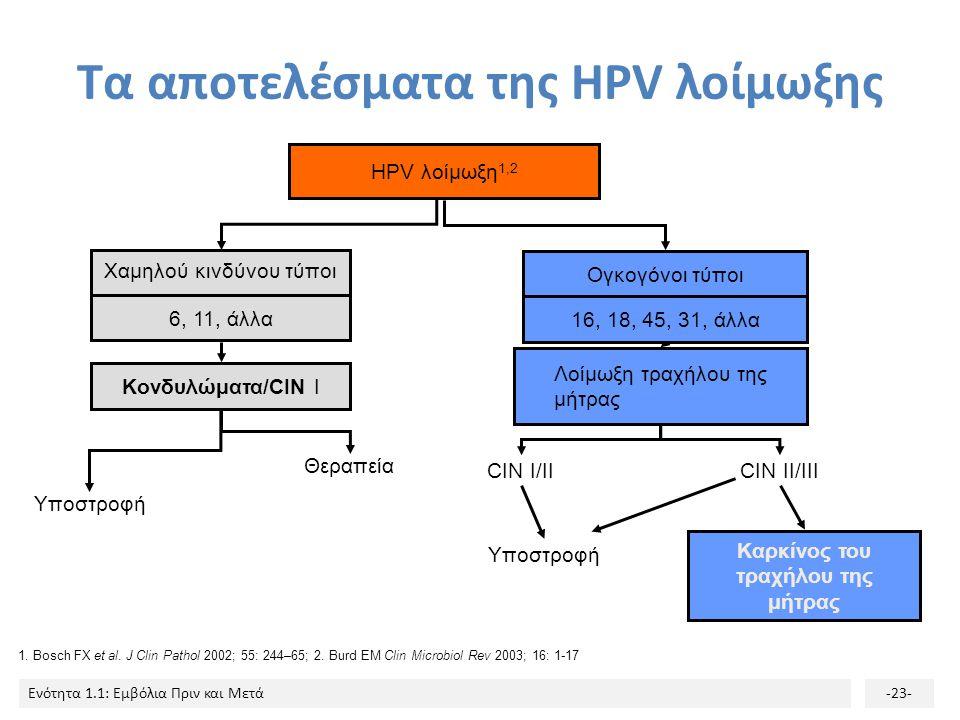 Ενότητα 1.1: Εμβόλια Πριν και Μετά-23- Τα αποτελέσματα της HPV λοίμωξης HPV λοίμωξη 1,2 CIN II/III 6, 11, άλλα Κονδυλώματα/CIN I Υποστροφή Θεραπεία Χα