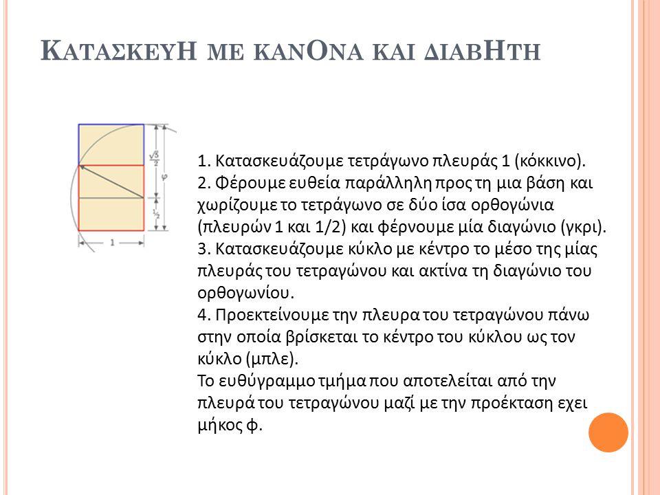 Κ ΑΤΑΣΚΕΥ Η ΜΕ ΚΑΝ Ο ΝΑ ΚΑΙ ΔΙΑΒ Η ΤΗ 1. Κατασκευάζουμε τετράγωνο πλευράς 1 (κόκκινο). 2. Φέρουμε ευθεία παράλληλη προς τη μια βάση και χωρίζουμε το τ