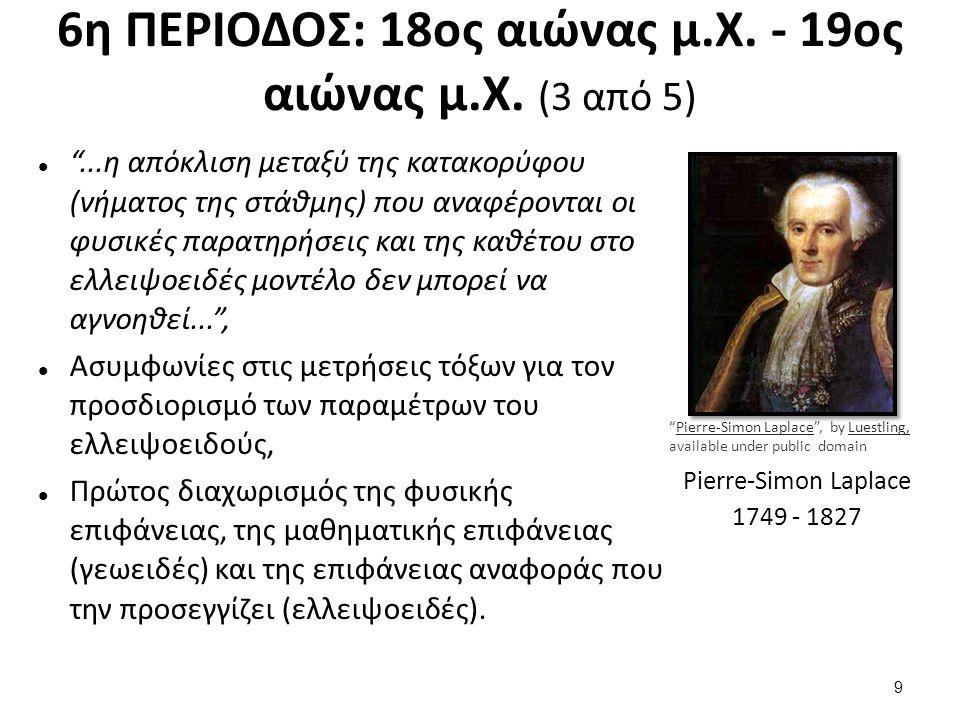 """6η ΠΕΡΙΟΔΟΣ: 18ος αιώνας μ.Χ. - 19ος αιώνας μ.Χ. (3 από 5) """"...η απόκλιση μεταξύ της κατακορύφου (νήματος της στάθμης) που αναφέρονται οι φυσικές παρα"""