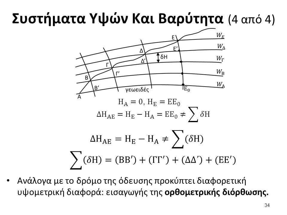 Συστήματα Υψών Και Βαρύτητα (4 από 4) Ανάλογα με το δρόμο της όδευσης προκύπτει διαφορετική υψομετρική διαφορά: εισαγωγής της ορθομετρικής διόρθωσης.
