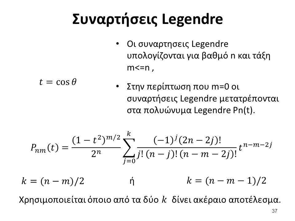 Συναρτήσεις Legendre Οι συναρτησεις Legendre υπολογίζονται για βαθμό n και τάξη m<=n, Στην περίπτωση που m=0 οι συναρτήσεις Legendre μετατρέπονται στα πολυώνυμα Legendre Pn(t).