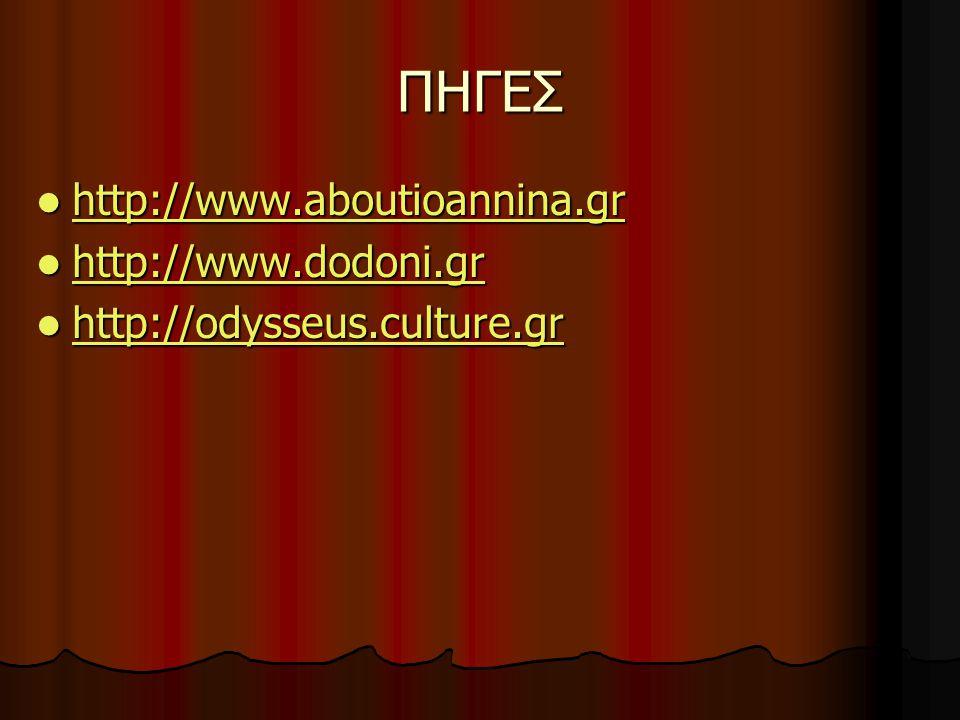 ΠΗΓΕΣ http://www.aboutioannina.gr http://www.aboutioannina.gr http://www.aboutioannina.gr http://www.dodoni.gr http://www.dodoni.gr http://www.dodoni.