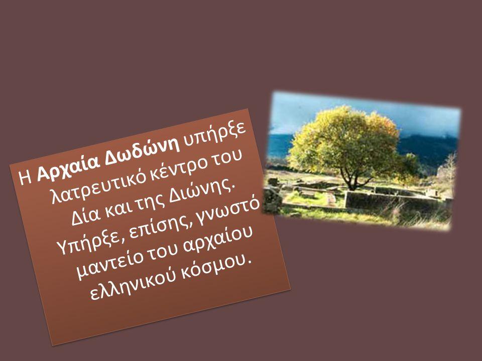 Η Aρχαία Δωδώνη υπήρξε λατρευτικό κέντρο του Δία και της Διώνης. Υπήρξε, επίσης, γνωστό μαντείο του αρχαίου ελληνικού κόσμου.