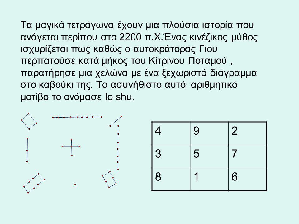 Tα μαγικά τετράγωνα έχουν μια πλούσια ιστορία που ανάγεται περίπου στο 2200 π.Χ.Ένας κινέζικος μύθος ισχυρίζεται πως καθώς ο αυτοκράτορας Γιου περπατούσε κατά μήκος του Κίτρινου Ποταμού, παρατήρησε μια χελώνα με ένα ξεχωριστό διάγραμμα στο καβούκι της.