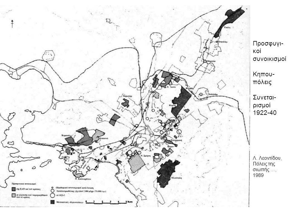 Προσφυγι- κοί συνοικισμοί Κηπου- πόλεις Συνεται- ρισμοί 1922-40 Λ. Λεοντίδου, Πόλεις της σιωπής …, 1989