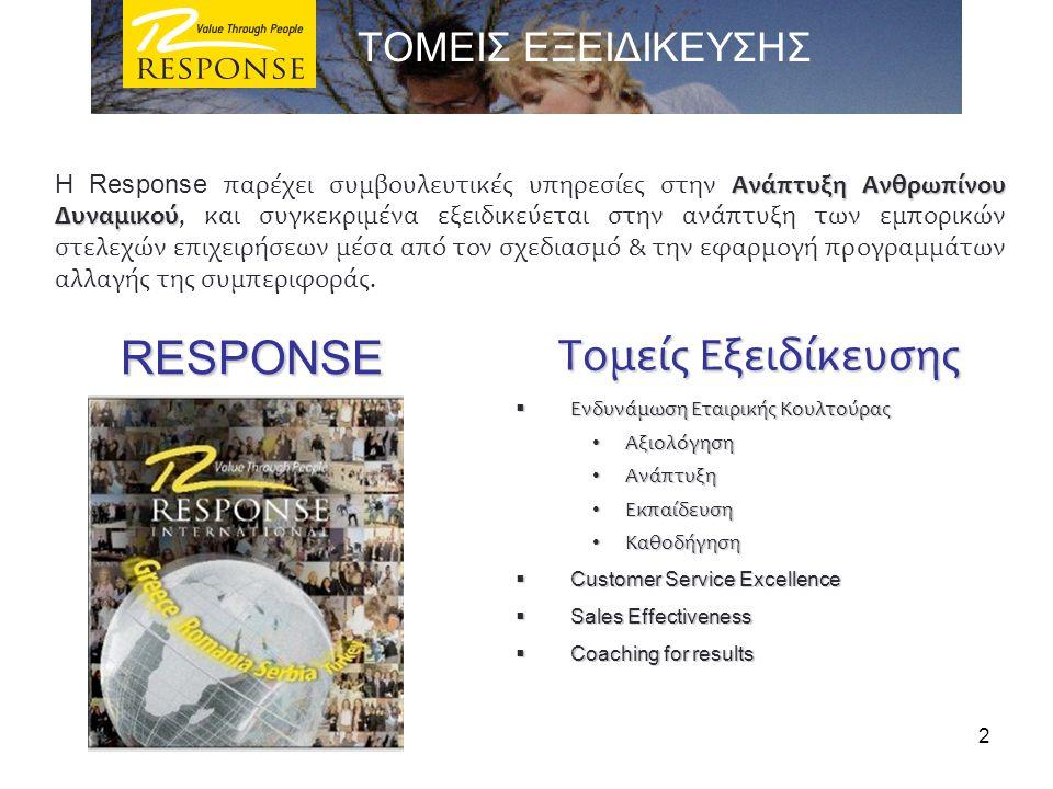 RESPONSE RESPONSE Τομείς Εξειδίκευσης  Ενδυνάμωση Εταιρικής Κουλτούρας Αξιολόγηση Αξιολόγηση Ανάπτυξη Ανάπτυξη Εκπαίδευση Εκπαίδευση Καθοδήγηση Καθοδ