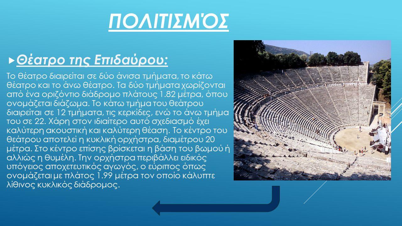 ΠΟΛΙΤΙΣΜΌΣ  Θέατρο της Επιδαύρου: Το θέατρο διαιρείται σε δύο άνισα τμήματα, το κάτω θέατρο και το άνω θέατρο. Τα δύο τμήματα χωρίζονται από ένα οριζ