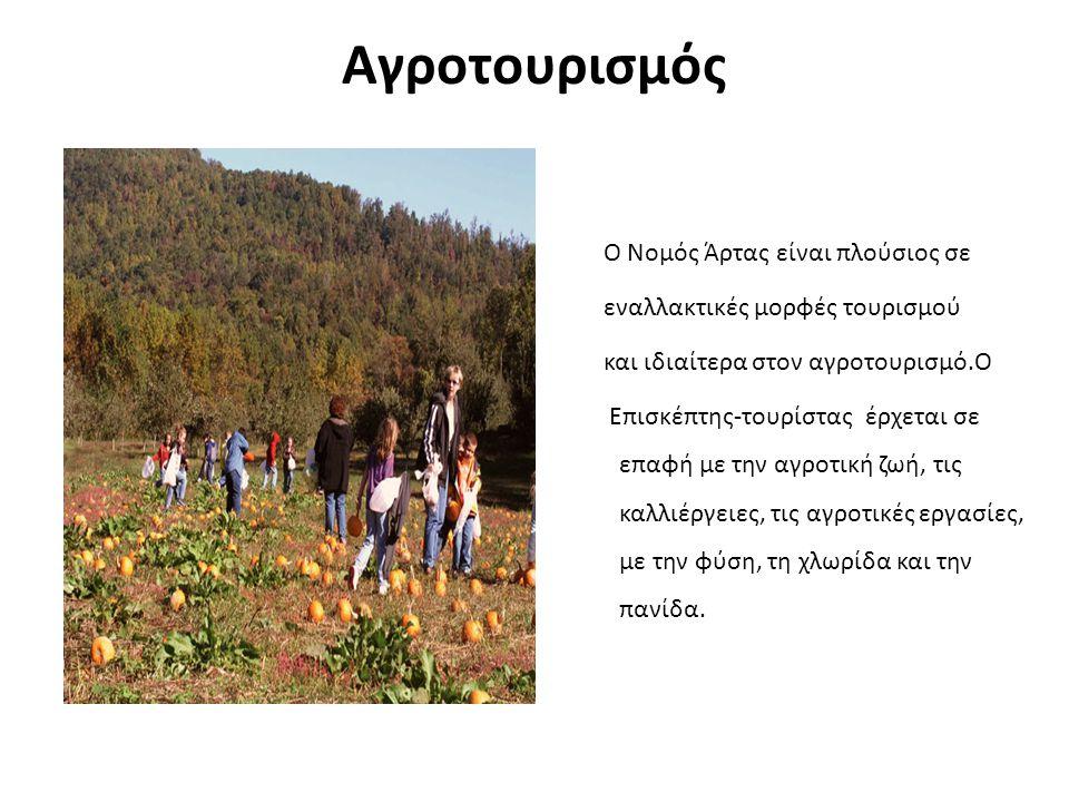 Αγροτουρισμός Ο Νομός Άρτας είναι πλούσιος σε εναλλακτικές μορφές τουρισμού και ιδιαίτερα στον αγροτουρισμό.Ο Επισκέπτης-τουρίστας έρχεται σε επαφή με την αγροτική ζωή, τις καλλιέργειες, τις αγροτικές εργασίες, με την φύση, τη χλωρίδα και την πανίδα.