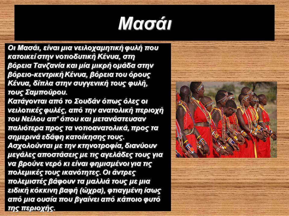 Οι Μασάι, είναι μια νειλοχαμητική φυλή που κατοικεί στην νοτιοδυτική Κένυα, στη βόρεια Τανζανία και μία μικρή ομάδα στην βόρειο-κεντρική Κένυα, βόρεια του όρους Κένυα, δίπλα στην συγγενική τους φυλή, τους Σαμπούρου.