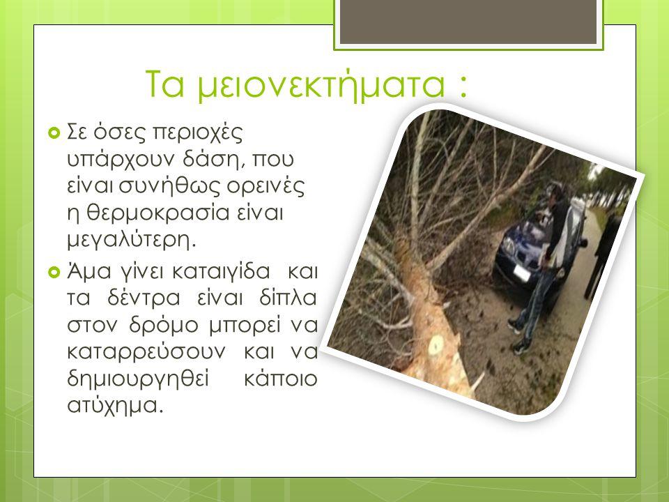 Τα μειονεκτήματα :  Σε όσες περιοχές υπάρχουν δάση, που είναι συνήθως ορεινές η θερμοκρασία είναι μεγαλύτερη.  Άμα γίνει καταιγίδα και τα δέντρα είν