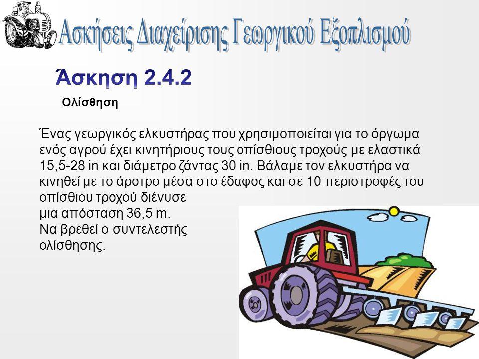 Ένας γεωργικός ελκυστήρας που χρησιμοποιείται για το όργωμα ενός αγρού έχει κινητήριους τους οπίσθιους τροχούς με ελαστικά 15,5-28 in και διάμετρο ζάντας 30 in.