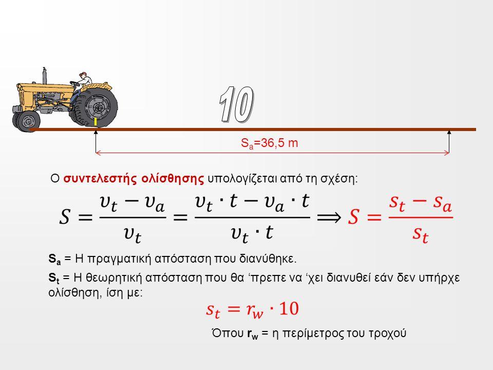 S a =36,5 m Ο συντελεστής ολίσθησης υπολογίζεται από τη σχέση: S a = H πραγματική απόσταση που διανύθηκε.