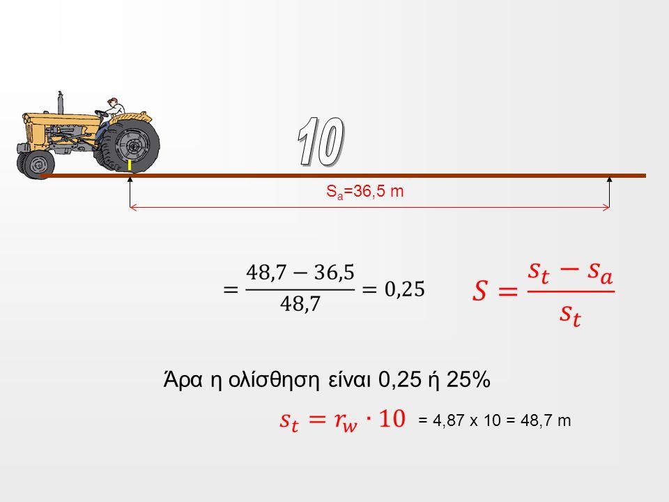 S a =36,5 m = 4,87 x 10 = 48,7 m Άρα η ολίσθηση είναι 0,25 ή 25%