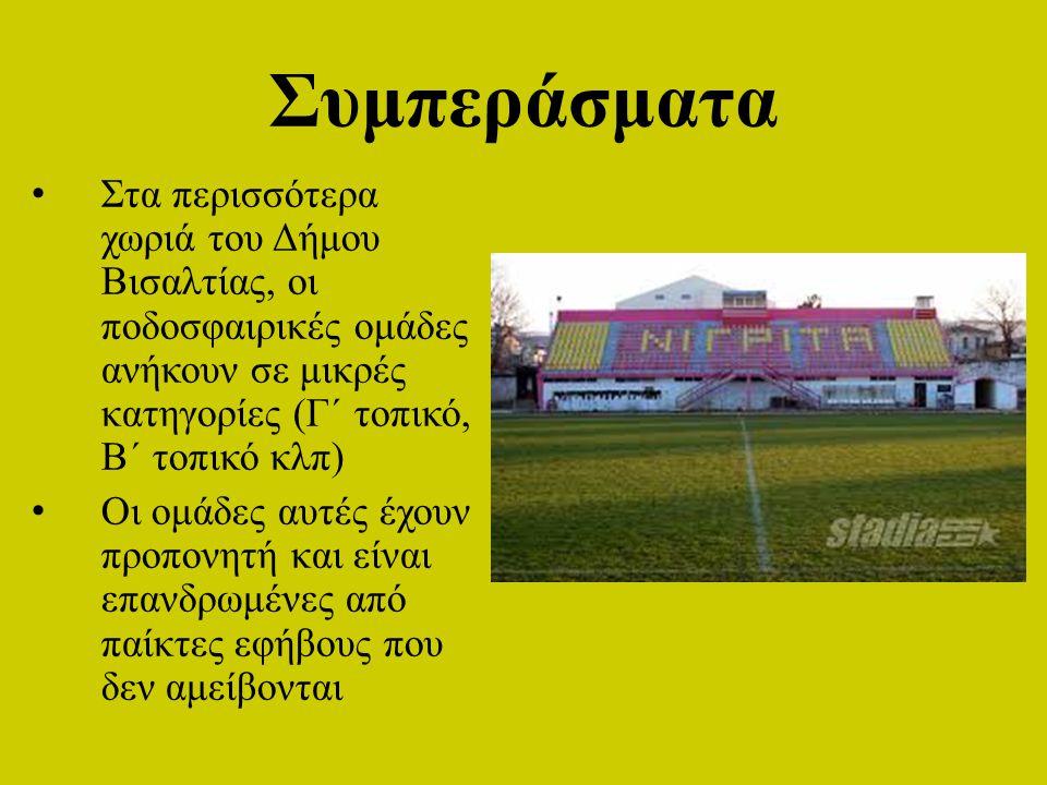 Συμπεράσματα Στα περισσότερα χωριά του Δήμου Βισαλτίας, οι ποδοσφαιρικές ομάδες ανήκουν σε μικρές κατηγορίες (Γ΄ τοπικό, Β΄ τοπικό κλπ) Οι ομάδες αυτέ