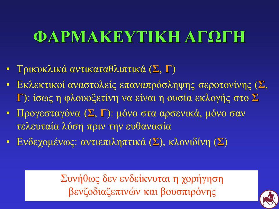 ΦΑΡΜΑΚΕΥΤΙΚΗ ΑΓΩΓΗ ΣΓΤρικυκλικά αντικαταθλιπτικά (Σ, Γ) Σ ΓΣΕκλεκτικοί αναστολείς επαναπρόσληψης σεροτονίνης (Σ, Γ): ίσως η φλουοξετίνη να είναι η ουσία εκλογής στο Σ ΣΓΠρογεσταγόνα (Σ, Γ): μόνο στα αρσενικά, μόνο σαν τελευταία λύση πριν την ευθανασία ΣΣΕνδεχομένως: αντιεπιληπτικά (Σ), κλονιδίνη (Σ) Συνήθως δεν ενδείκνυται η χορήγηση βενζοδιαζεπινών και βουσπιρόνης