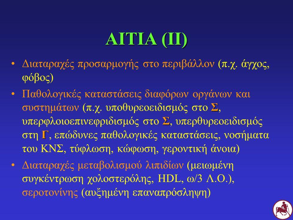 ΑΙΤΙΑ (ΙΙ) Διαταραχές προσαρμογής στο περιβάλλον (π.χ.