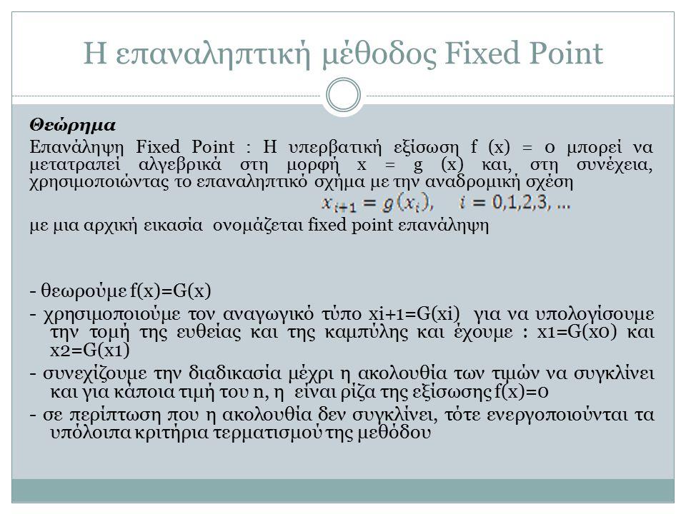 Η επαναληπτική μέθοδος Fixed Point Θεώρημα Επανάληψη Fixed Point : Η υπερβατική εξίσωση f (x) = 0 μπορεί να μετατραπεί αλγεβρικά στη μορφή x = g (x) κ