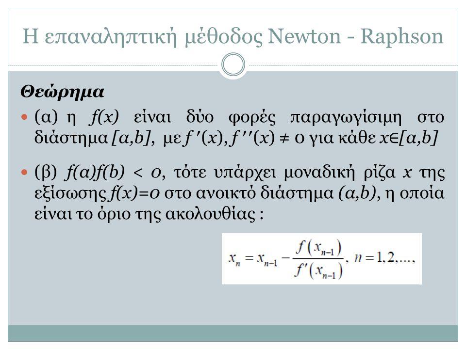 Η επαναληπτική μέθοδος Newton - Raphson Θεώρημα (α) η f(x) είναι δύο φορές παραγωγίσιμη στο διάστημα [α,b], με f ′(x), f ′′(x) ≠ 0 για κάθε x ∈ [α,b]