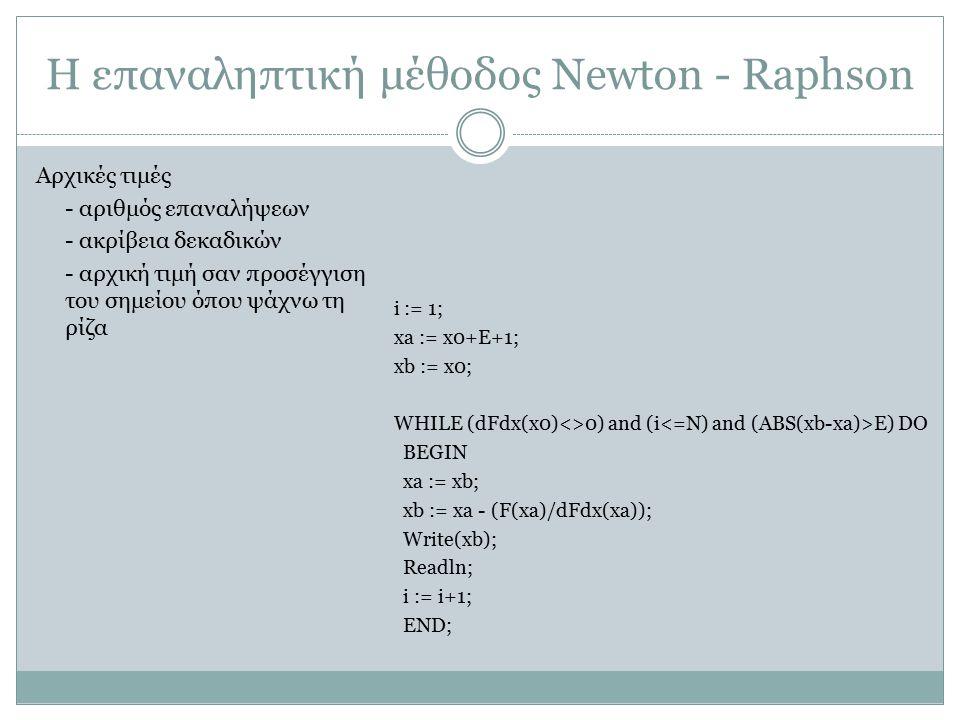 Η επαναληπτική μέθοδος Newton - Raphson i := 1; xa := x0+E+1; xb := x0; WHILE (dFdx(x0)<>0) and (i E) DO BEGIN xa := xb; xb := xa - (F(xa)/dFdx(xa));