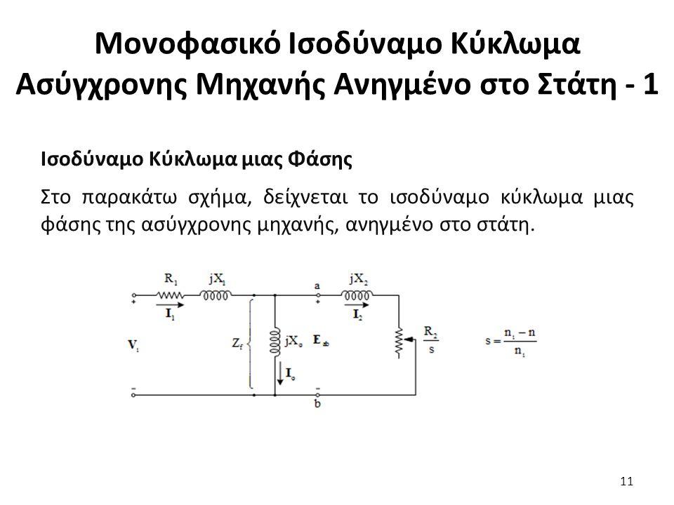 Μονοφασικό Ισοδύναμο Κύκλωμα Ασύγχρονης Μηχανής Ανηγμένο στο Στάτη - 1 Ισοδύναμο Κύκλωμα μιας Φάσης Στο παρακάτω σχήμα, δείχνεται το ισοδύναμο κύκλωμα