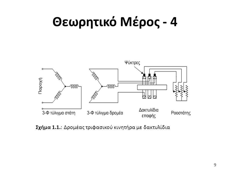 Θεωρητικό Μέρος - 5 Οι τριφασικοί δακτυλιοφόροι ασύγχρονοι κινητήρες, χρησιμοποιούνται πολύ στις βιομηχανικές εγκαταστάσεις και πλεονεκτούν έναντι των αντίστοιχων κινητήρων βραχυκυκλωμένου δρομέα στα εξής: Έχουν μεγάλη ροπή εκκίνησης Προσφέρουν την δυνατότητα ρύθμισης της ταχύτητας περιστροφής κατά την κανονική λειτουργία Έχουμε τη δυνατότητα να ρυθμίζουμε το ρεύμα εκκίνησης, σε οποιαδήποτε επιθυμητή περιοχή τιμών.