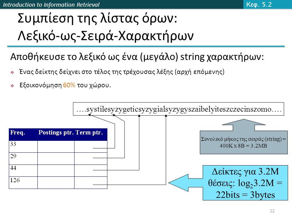 Introduction to Information Retrieval Συμπίεση της λίστας όρων: Λεξικό-ως-Σειρά-Χαρακτήρων ….systilesyzygeticsyzygialsyzygyszaibelyiteszczecinszomo….