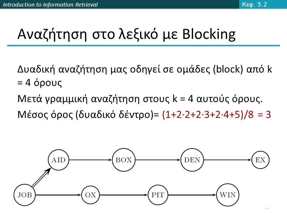 Introduction to Information Retrieval Αναζήτηση στο λεξικό με Βlocking Κεφ. 5.2 27 Δυαδική αναζήτηση μας οδηγεί σε ομάδες (block) από k = 4 όρους Μετά