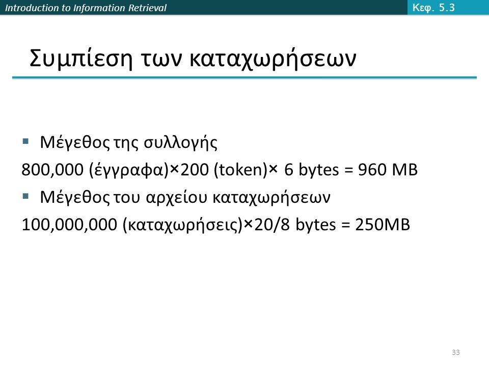 Introduction to Information Retrieval Συμπίεση των καταχωρήσεων  Μέγεθος της συλλογής 800,000 (έγγραφα)×200 (token)× 6 bytes = 960 MB  Μέγεθος του α