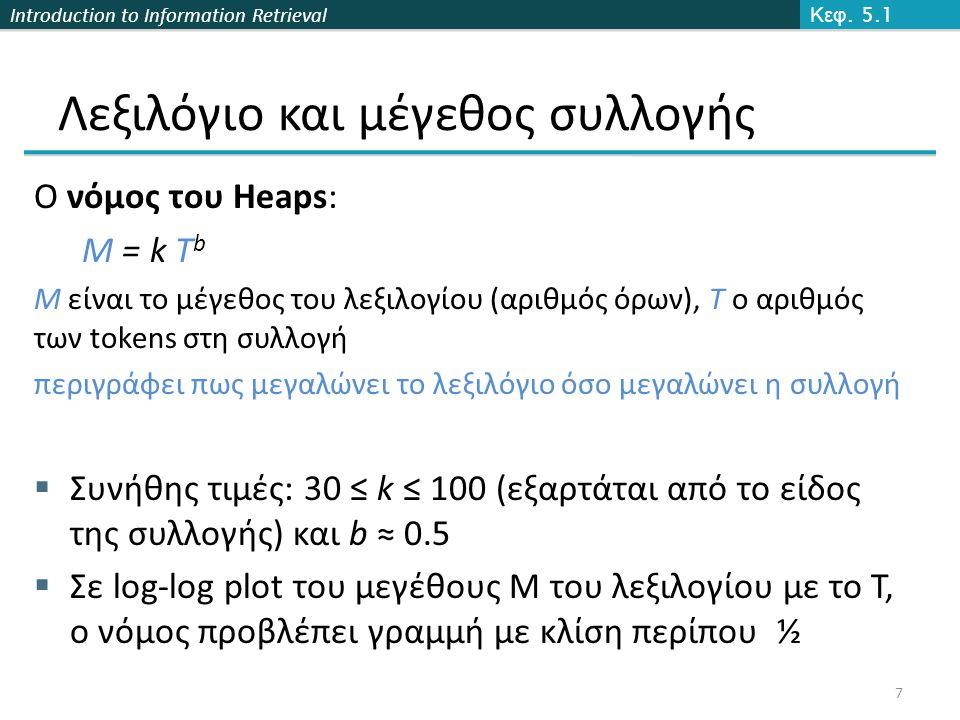 Introduction to Information Retrieval Ο νόμος του Heaps: M = k T b M είναι το μέγεθος του λεξιλογίου (αριθμός όρων), T ο αριθμός των tokens στη συλλογή περιγράφει πως μεγαλώνει το λεξιλόγιο όσο μεγαλώνει η συλλογή  Συνήθης τιμές: 30 ≤ k ≤ 100 (εξαρτάται από το είδος της συλλογής) και b ≈ 0.5  Σε log-log plot του μεγέθους Μ του λεξιλογίου με το Τ, ο νόμος προβλέπει γραμμή με κλίση περίπου ½ Κεφ.