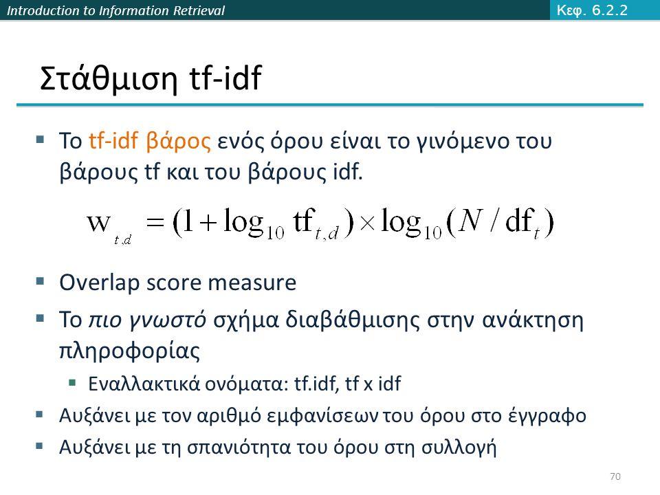 Introduction to Information Retrieval Στάθμιση tf-idf  Το tf-idf βάρος ενός όρου είναι το γινόμενο του βάρους tf και του βάρους idf.  Overlap score