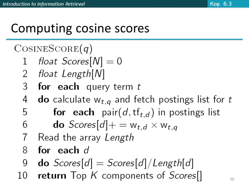 Introduction to Information Retrieval Computing cosine scores Κεφ. 6.3 88
