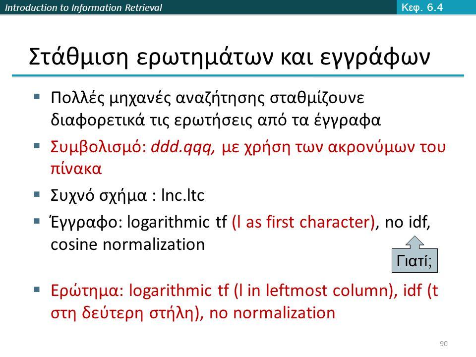 Introduction to Information Retrieval Στάθμιση ερωτημάτων και εγγράφων  Πολλές μηχανές αναζήτησης σταθμίζουνε διαφορετικά τις ερωτήσεις από τα έγγραφα  Συμβολισμό: ddd.qqq, με χρήση των ακρονύμων του πίνακα  Συχνό σχήμα : lnc.ltc  Έγγραφο: logarithmic tf (l as first character), no idf, cosine normalization  Ερώτημα: logarithmic tf (l in leftmost column), idf (t στη δεύτερη στήλη), no normalization Γιατί ; Κεφ.