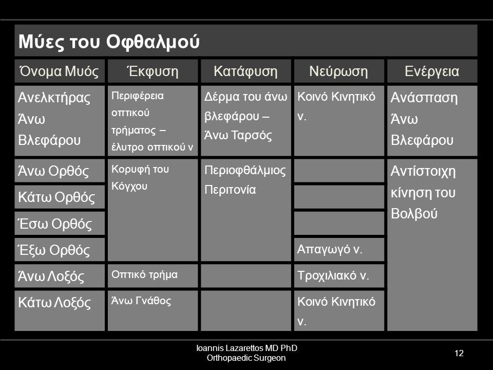 Ioannis Lazarettos MD PhD Orthopaedic Surgeon 12 Μύες του Οφθαλμού Όνομα ΜυόςΈκφυσηΚατάφυσηΝεύρωσηΕνέργεια Ανελκτήρας Άνω Βλεφάρου Περιφέρεια οπτικού