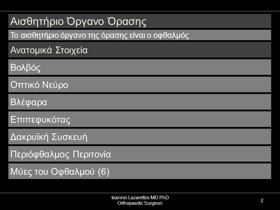 Ioannis Lazarettos MD PhD Orthopaedic Surgeon 2 Αισθητήριο Όργανο Όρασης Το αισθητήριο όργανο της όρασης είναι ο οφθαλμός Ανατομικά Στοιχεία Βολβός