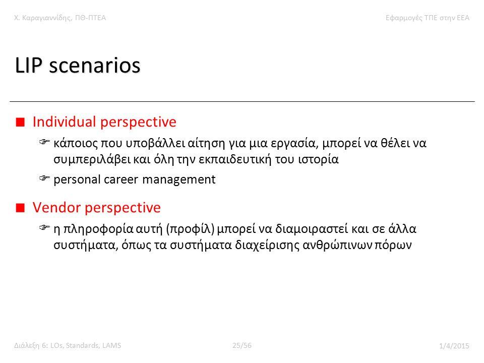 Χ. Καραγιαννίδης, ΠΘ-ΠΤΕΑΕφαρμογές ΤΠΕ στην ΕΕΑ Διάλεξη 6: LOs, Standards, LAMS25/56 1/4/2015 LIP scenarios Individual perspective  κάποιος που υποβά