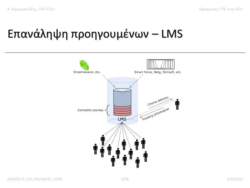 Χ. Καραγιαννίδης, ΠΘ-ΠΤΕΑΕφαρμογές ΤΠΕ στην ΕΕΑ Διάλεξη 6: LOs, Standards, LAMS4/56 1/4/2015 Επανάληψη προηγουμένων – LMS