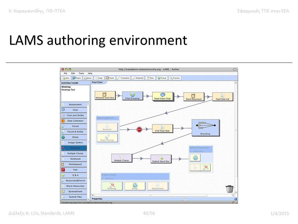Χ. Καραγιαννίδης, ΠΘ-ΠΤΕΑΕφαρμογές ΤΠΕ στην ΕΕΑ Διάλεξη 6: LOs, Standards, LAMS40/56 1/4/2015 LAMS authoring environment