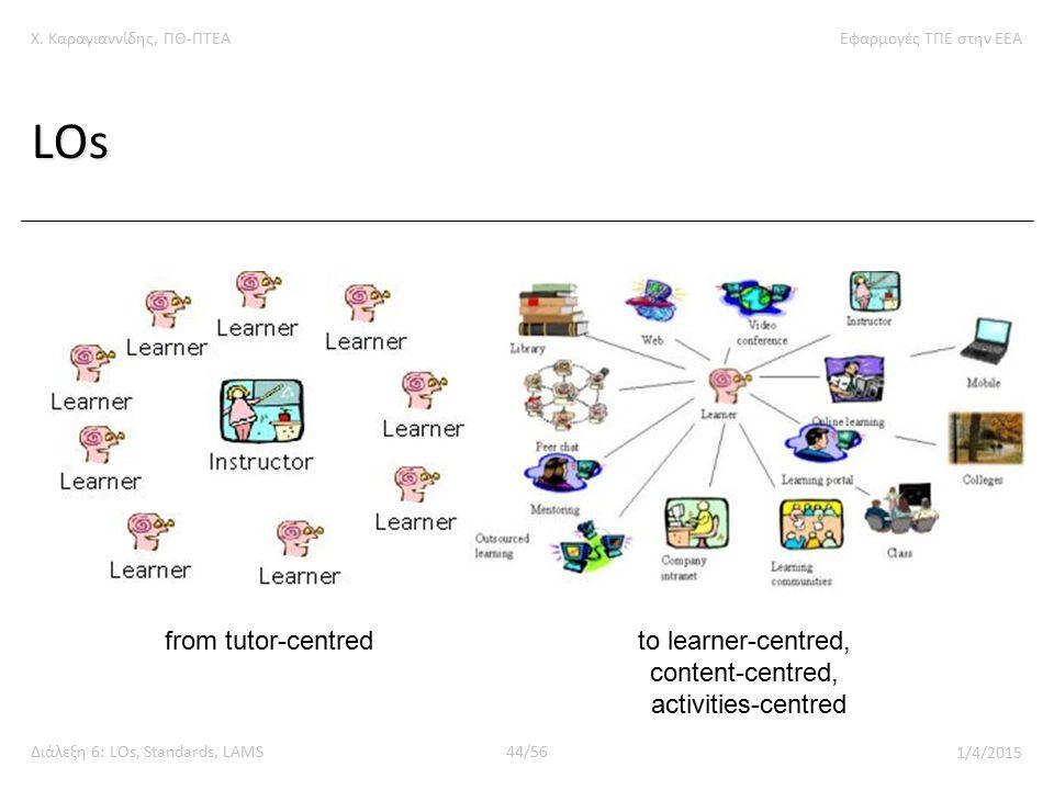 Χ. Καραγιαννίδης, ΠΘ-ΠΤΕΑΕφαρμογές ΤΠΕ στην ΕΕΑ Διάλεξη 6: LOs, Standards, LAMS44/56 1/4/2015 LOs from tutor-centredto learner-centred, content-centre