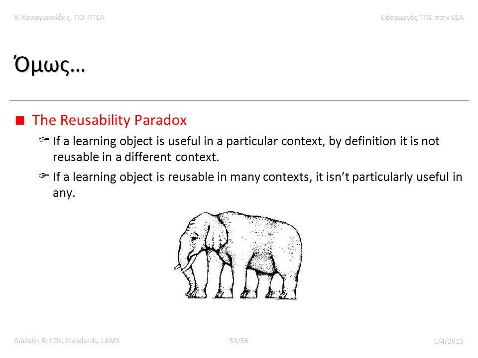 Χ. Καραγιαννίδης, ΠΘ-ΠΤΕΑΕφαρμογές ΤΠΕ στην ΕΕΑ Διάλεξη 6: LOs, Standards, LAMS53/56 1/4/2015 Όμως… The Reusability Paradox  If a learning object is