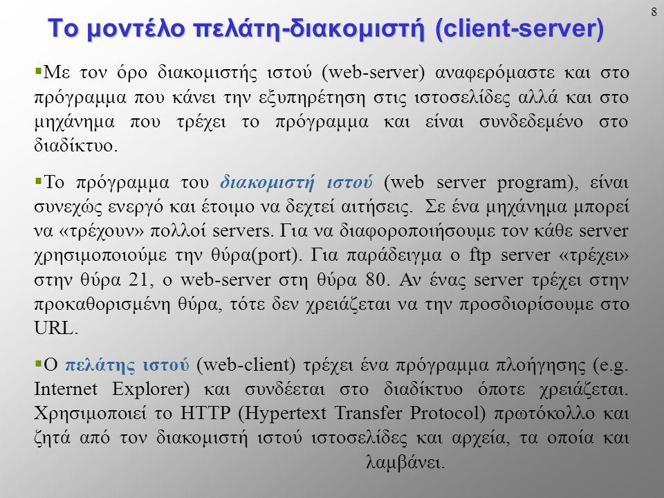 8 Το μοντέλο πελάτη-διακομιστή (client-server)  Με τον όρο διακομιστής ιστού (web-server) αναφερόμαστε και στο πρόγραμμα που κάνει την εξυπηρέτηση στις ιστοσελίδες αλλά και στο μηχάνημα που τρέχει το πρόγραμμα και είναι συνδεδεμένο στο διαδίκτυο.