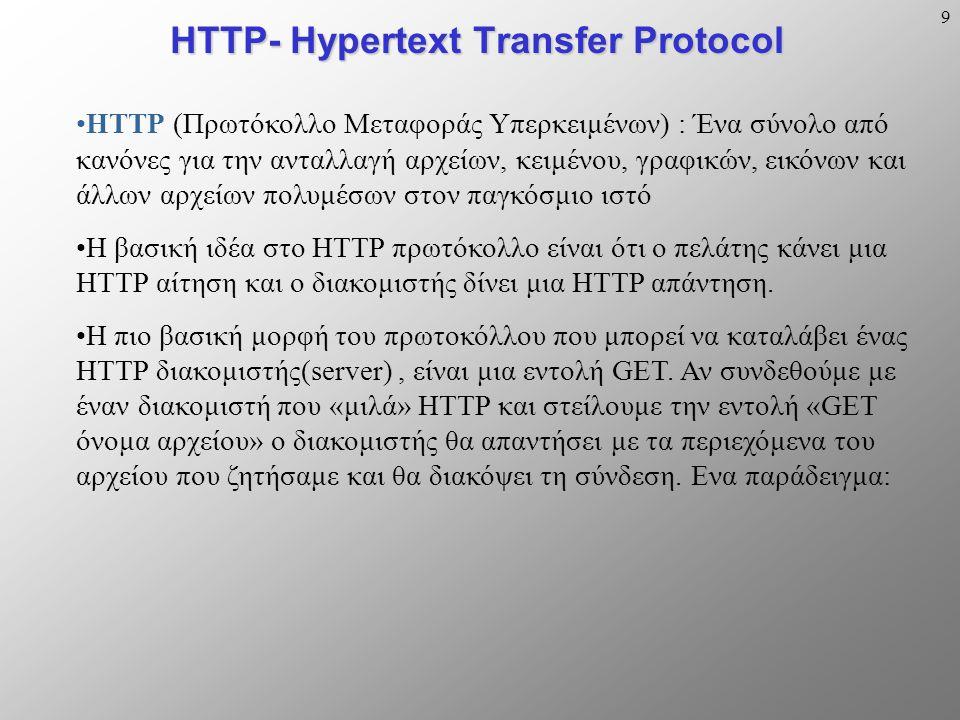 9 HTTP- Hypertext Transfer Protocol HTTP (Πρωτόκολλο Μεταφοράς Υπερκειμένων) : Ένα σύνολο από κανόνες για την ανταλλαγή αρχείων, κειμένου, γραφικών, εικόνων και άλλων αρχείων πολυμέσων στον παγκόσμιο ιστό Η βασική ιδέα στο HTTP πρωτόκολλο είναι ότι ο πελάτης κάνει μια HTTP αίτηση και ο διακομιστής δίνει μια HTTP απάντηση.