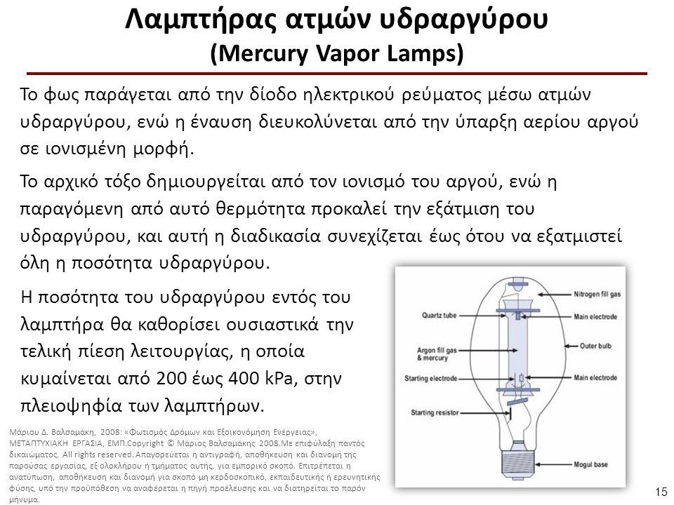 Λαμπτήρας ατμών υδραργύρου (Mercury Vapor Lamps) Η ποσότητα του υδραργύρου εντός του λαμπτήρα θα καθορίσει ουσιαστικά την τελική πίεση λειτουργίας, η οποία κυμαίνεται από 200 έως 400 kPa, στην πλειοψηφία των λαμπτήρων.