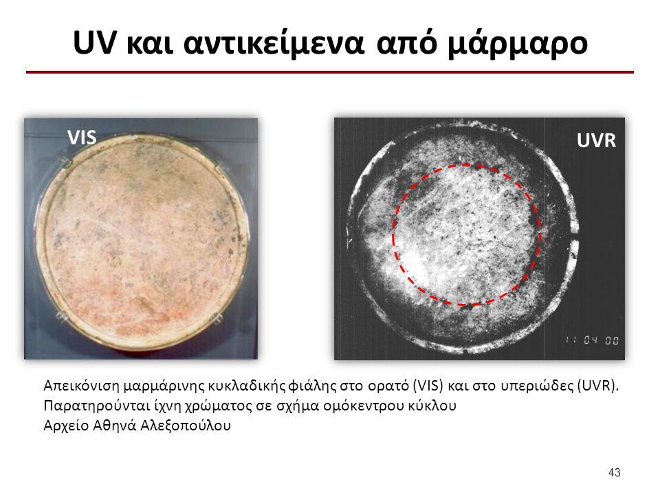 UV και αντικείμενα από μάρμαρο VIS UVR 43 Απεικόνιση μαρμάρινης κυκλαδικής φιάλης στο ορατό (VIS) και στο υπεριώδες (UVR).