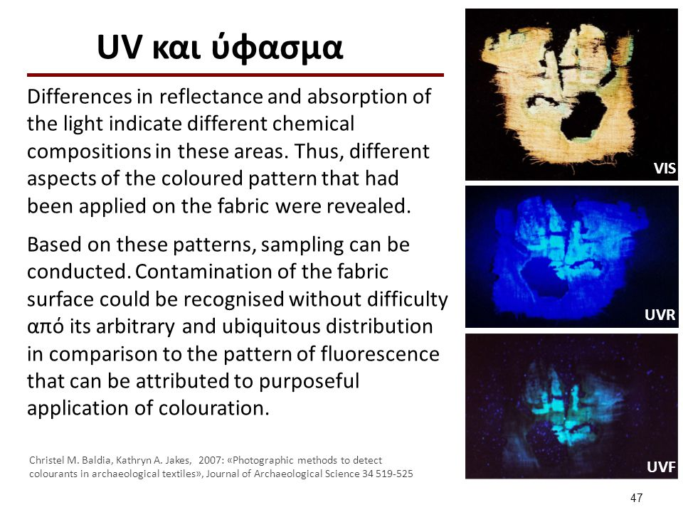 UV και ύφασμα Differences in reflectance and absorption of the light indicate different chemical compositions in these areas. Thus, different aspects