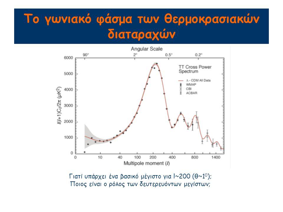 Το γωνιακό φάσμα των θερμοκρασιακών διαταραχών Γιατί υπάρχει ένα βασικό μέγιστο για l~200 (θ~1 0 ); Ποιος είναι ο ρόλος των δευτερευόντων μεγίστων;