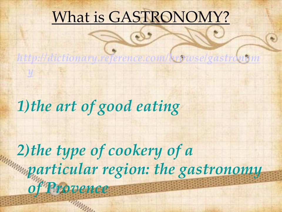 GASTRONOMIC TRANSLATION ISSUES Τhe translator of alimentary products has to face many linguistic, cultural, legal and commercial issues such as: 1)Translation of the names of typical local dishes 2)Translation of special terminology of gastronomic elaboration 3)Names of local products 4)Names of types of wine (porto, champagnè, 5)Names of different local or national kinds of cheese 6)Special gastronomic tools 7)Special serving objects 8)Different locations 9)Different ways to make a toast 10)Variable measurement units
