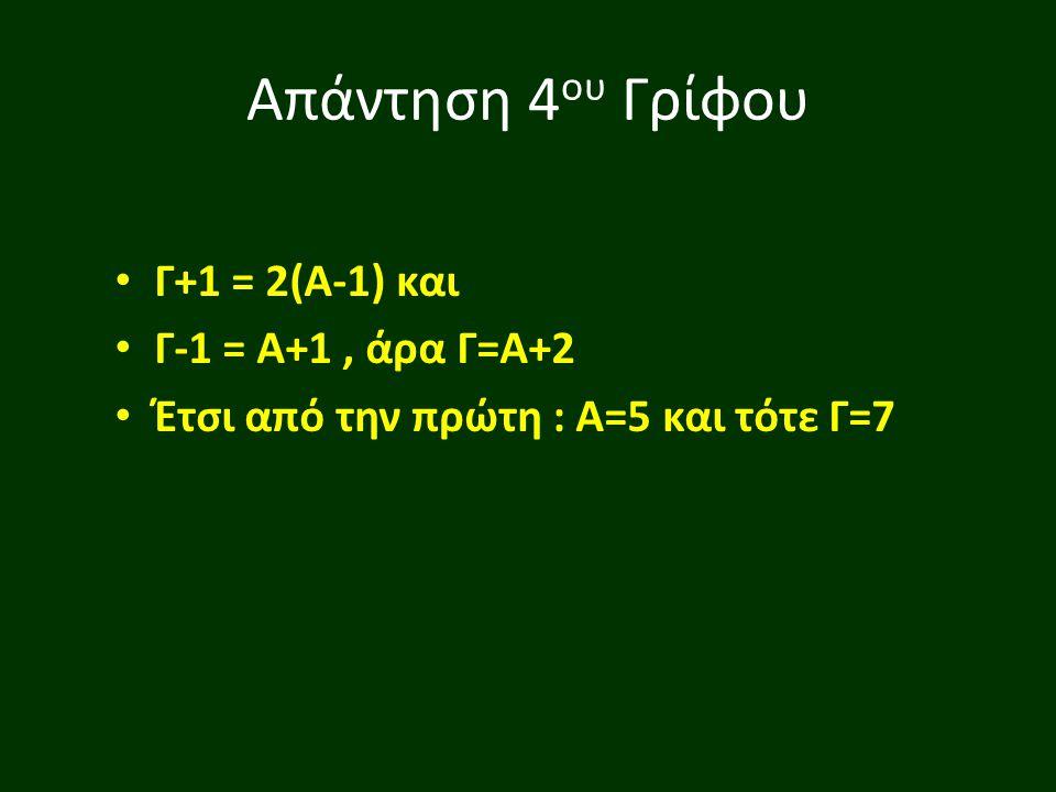 Απάντηση 4 ου Γρίφου Γ+1 = 2(Α-1) και Γ-1 = Α+1, άρα Γ=Α+2 Έτσι από την πρώτη : Α=5 και τότε Γ=7