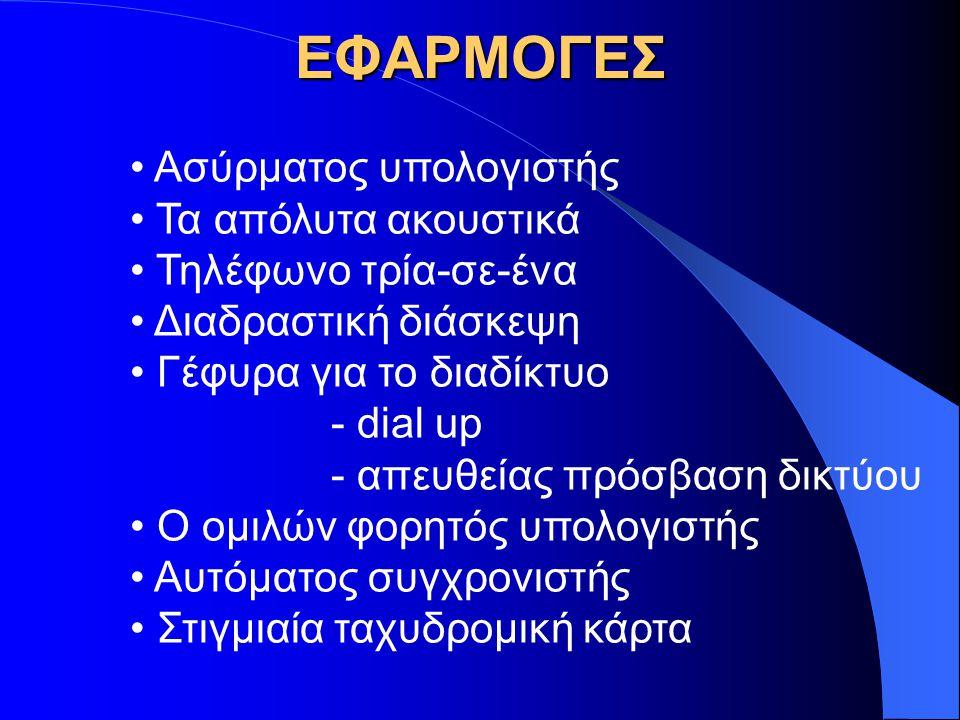 ΕΦΑΡΜΟΓΕΣ Ασύρματος υπολογιστής Τα απόλυτα ακουστικά Τηλέφωνο τρία-σε-ένα Διαδραστική διάσκεψη Γέφυρα για το διαδίκτυο - dial up - απευθείας πρόσβαση